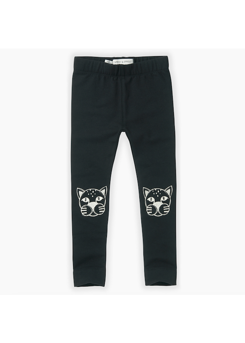 Sproet & Sprout Sproet & Sprout Sweat Legging Panther Head Black