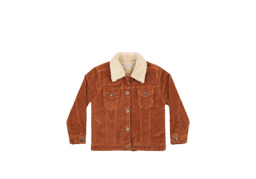 Mingo Mingo Oversized Jacket Corduroy Leather Brown Off White