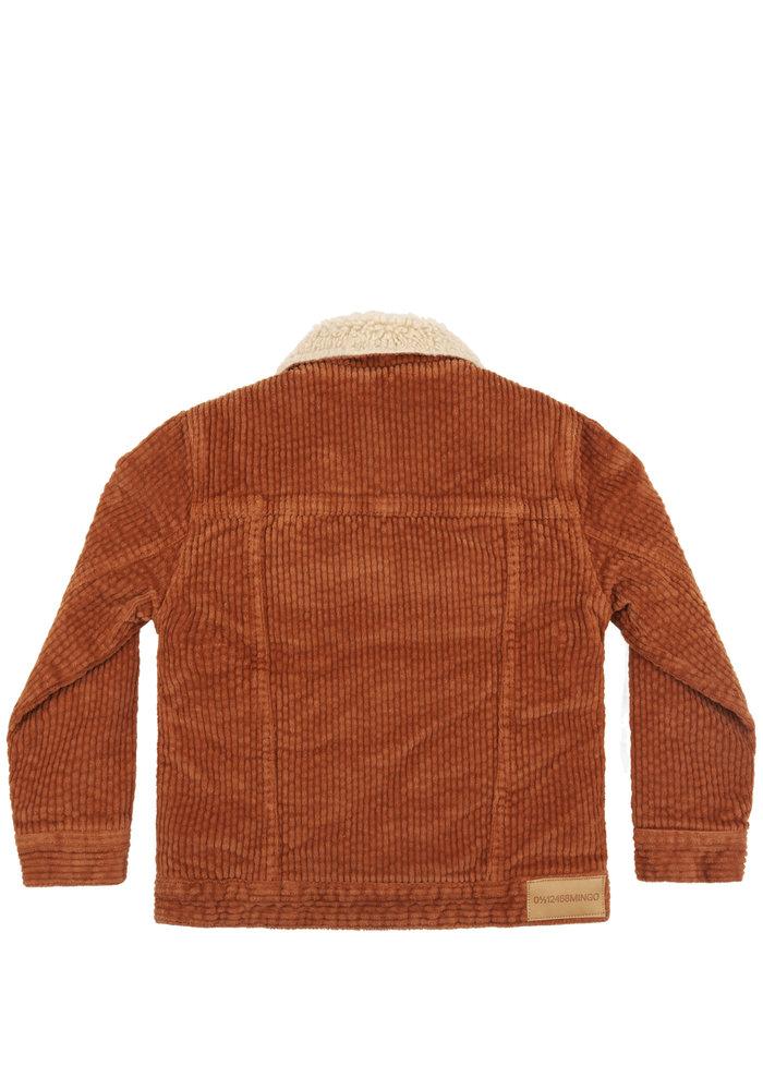 Mingo Oversized Jacket Corduroy Leather Brown Off White