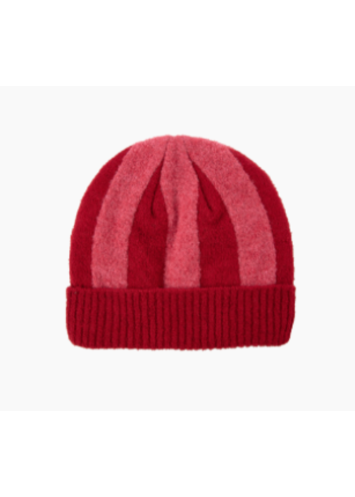Tinycottons Stripes Beanie burgundy/bubble gum