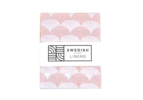 Swedish Linens Swedish Linens RAINBOWS Nudy Pink 180x200 cm Double Fitted Sheet
