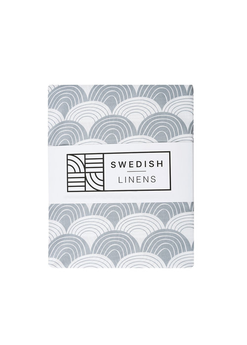 Swedish Linens Swedish Linens RAINBOWS Grey 180x200 cm Double Fitted Sheet