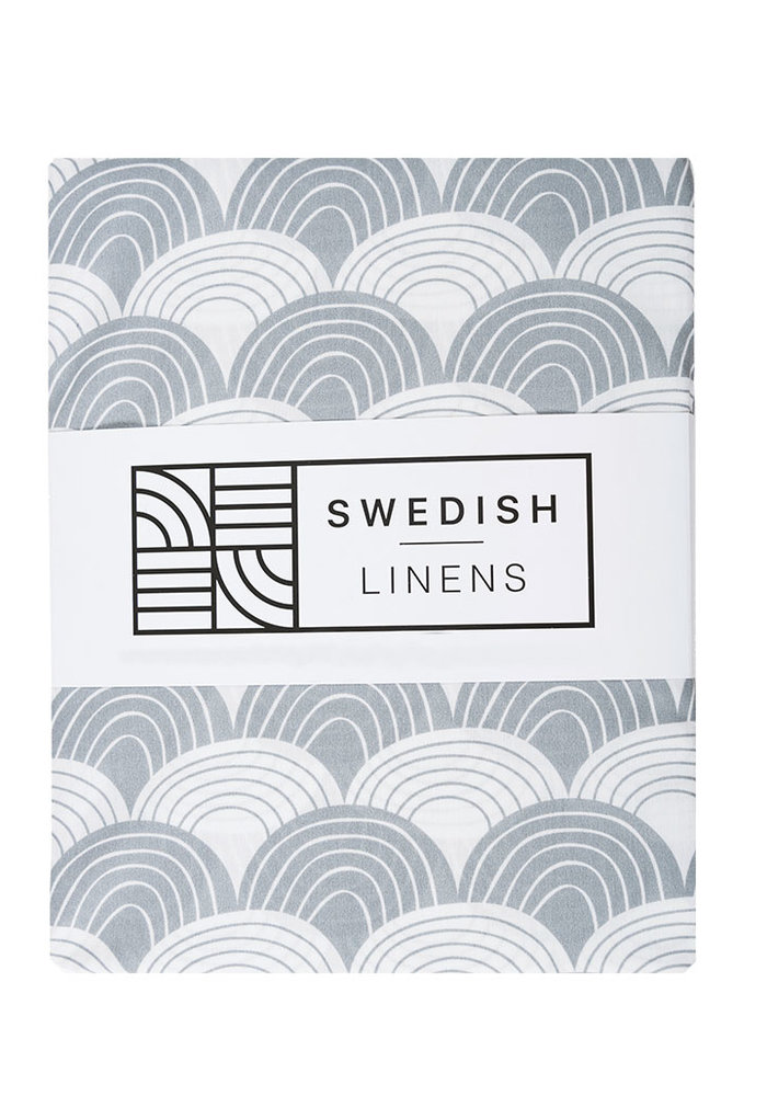 Swedish Linens RAINBOWS Grey 180x200 cm Double Fitted Sheet