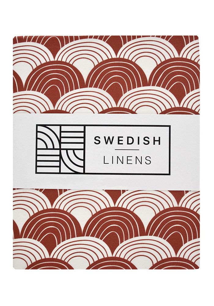 Swedish Linens RAINBOWS Burgundy Fitted Baby Bed Sheet 40x80cm