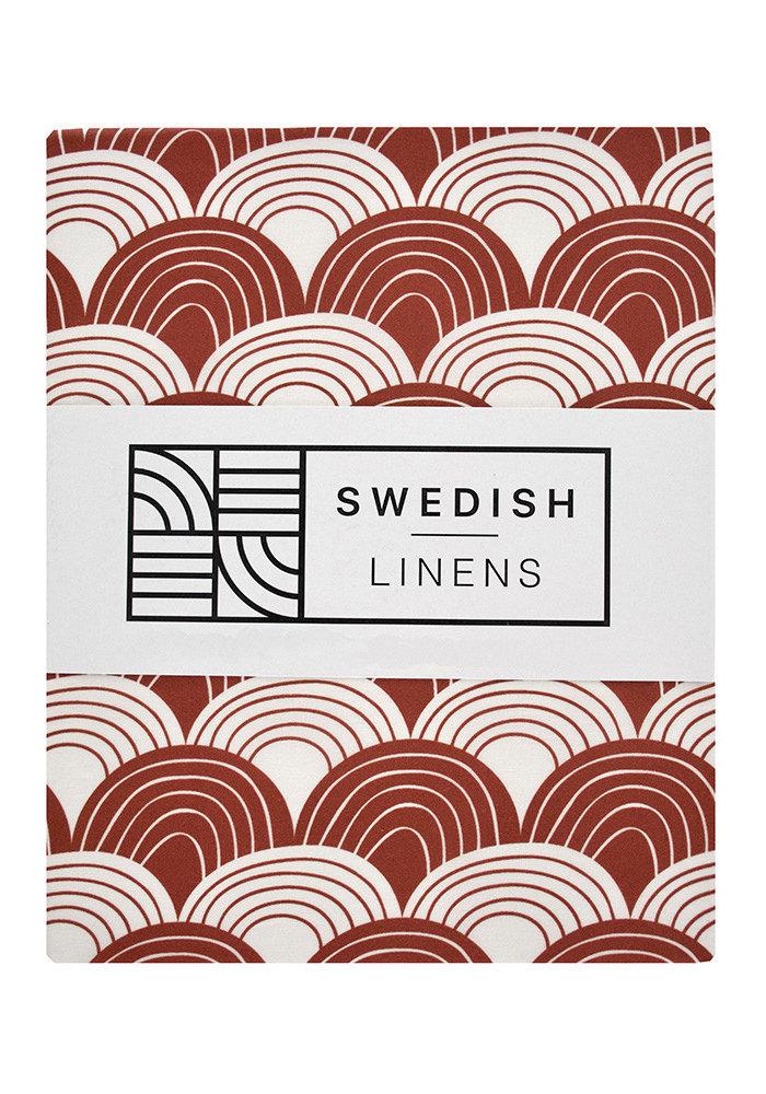 Swedish Linens RAINBOWS Burgundy Flat baby Sheet  70x100cm