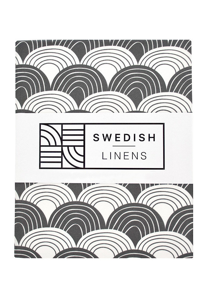 Swedish Linens RAINBOWS Graphite Fitted Baby Bed Sheet 40x80cm