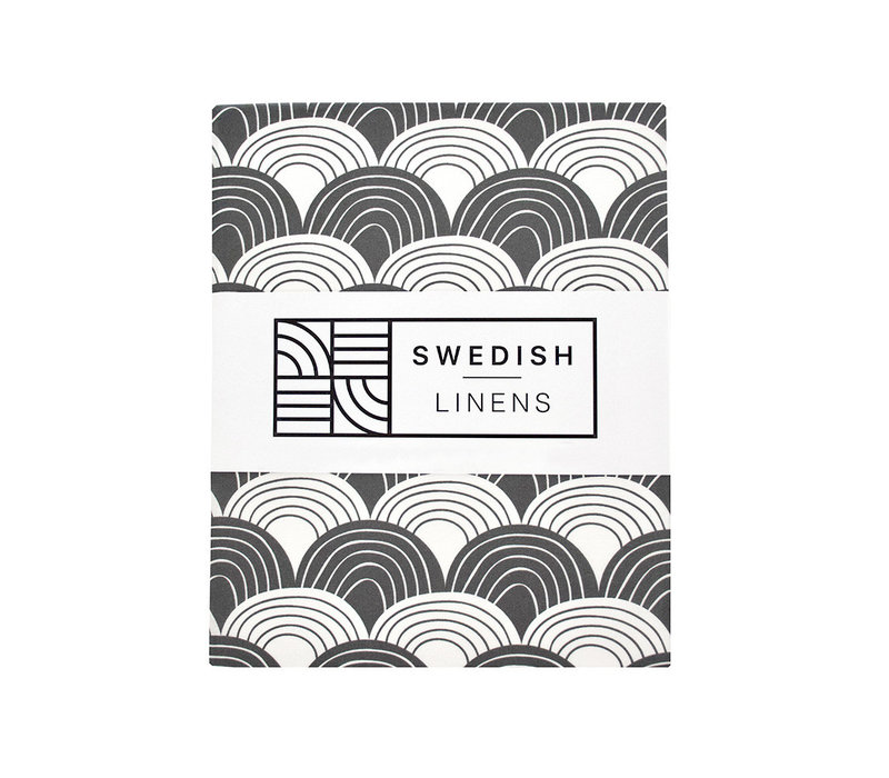 Swedish Linens RAINBOWS Graphite Fitted Single Bed Sheet 90x200cm