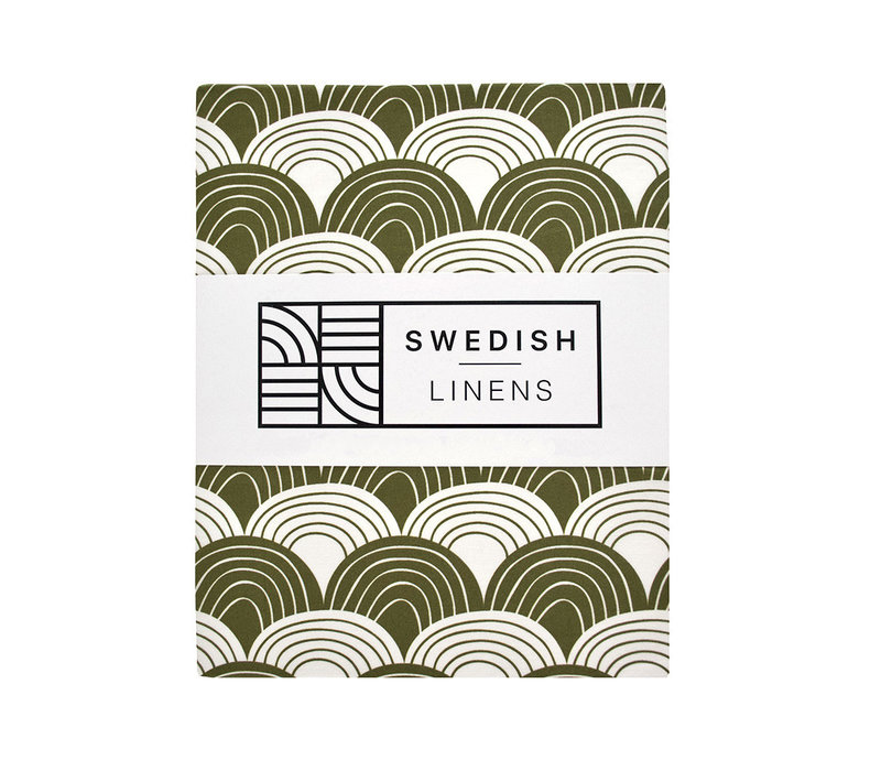 Swedish Linens RAINBOWS Olive Green Fitted Single Bed Sheet 90x200cm