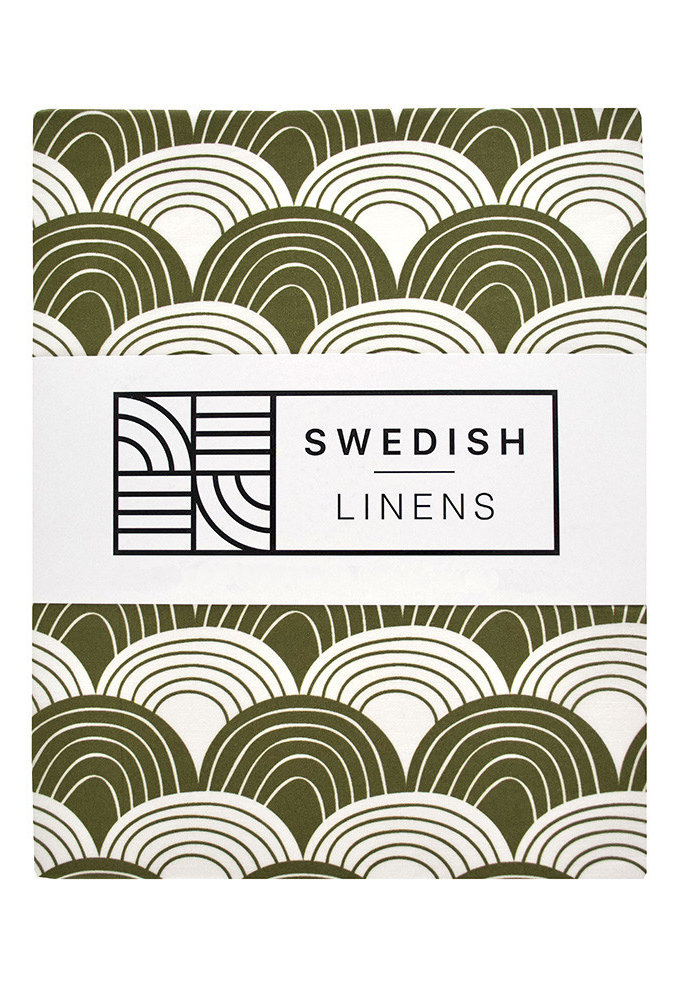 Swedish Linens RAINBOWS Olive GreenFitted Toddler Bed Sheet 70x160cm