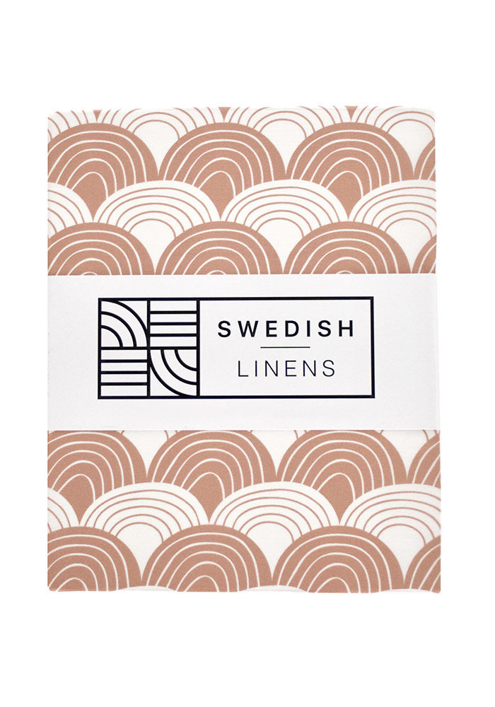Swedish Linens RAINBOWS Terracotta Pink Fitted Single Bed Sheet 90x200cm