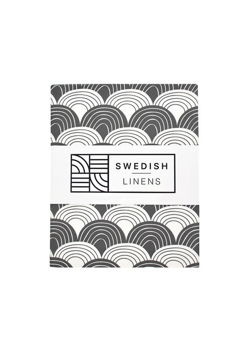 Swedish Linens Swedish Linens RAINBOWS Graphite Flat baby Sheet  70x100cm