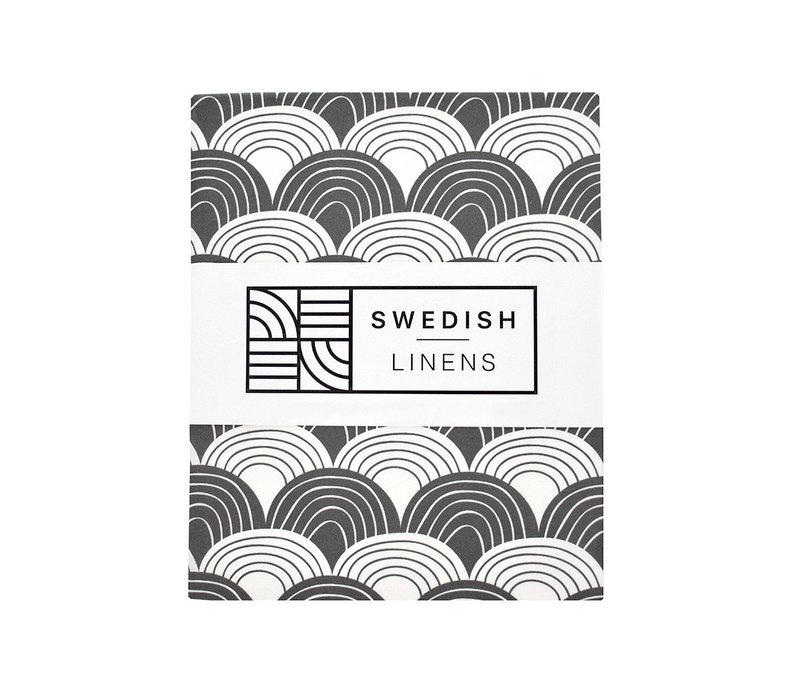 Swedish Linens RAINBOWS Graphite Flat baby Sheet  70x100cm