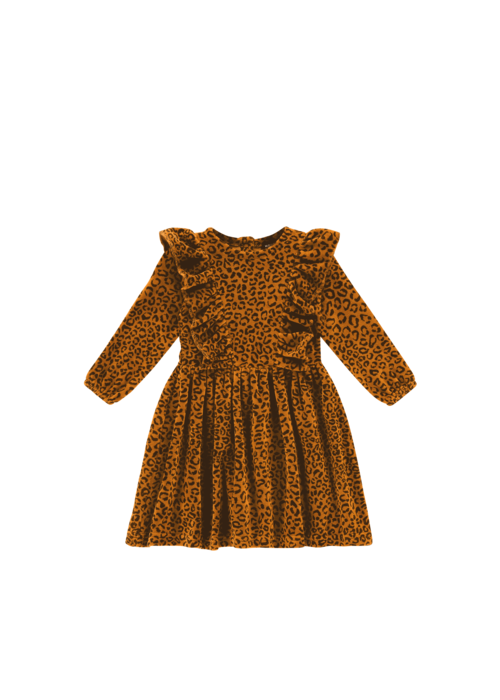 House of Jamie House of Jamie Front Ruffled Dress Golden Brown Leopard