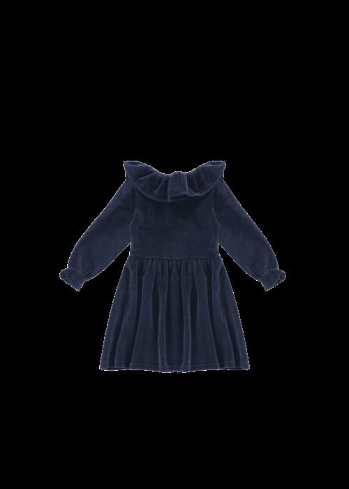 House of Jamie House of Jamie Pierrot Collar Dress Midnight Velvet Blue