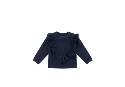 House of Jamie House of Jamie Front Ruffled Sweater Midnight Velvet Blue