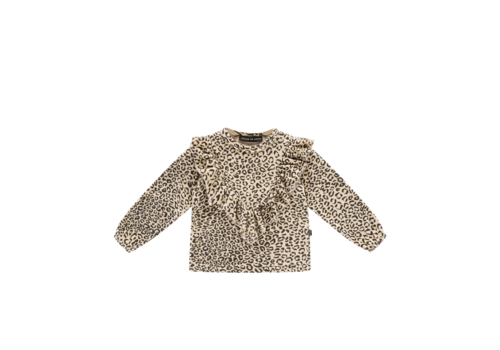 House of Jamie House of Jamie Front Ruffled Sweater Snow Leopard