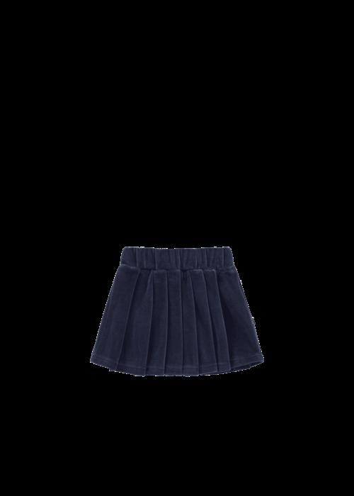 House of Jamie House of Jamie Pleated Skirt Midnight Velvet Blue