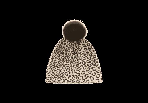 House of Jamie House of Jamie Faux Fur Pom Pom Hat Snow Leopard