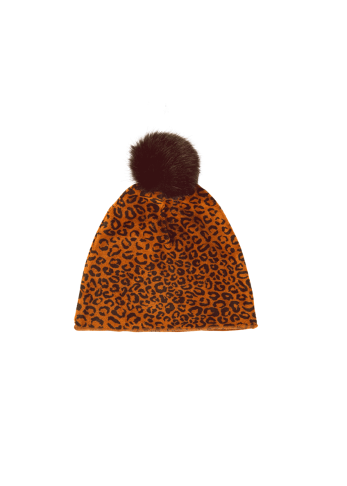 House of Jamie House of Jamie Faux Fur Pom Pom Golden Brown Leopard