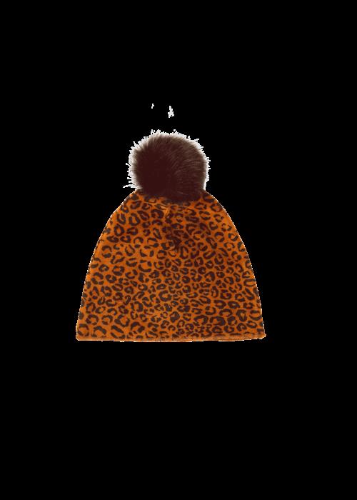 House of Jamie House of Jamie Faux Fur Pom Pom Hat Golden Brown Leopard