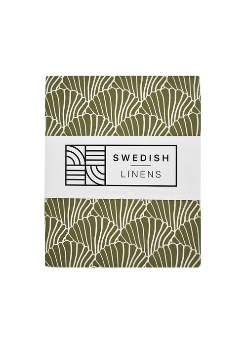 Swedish Linens Swedish Linens SEASHELLS Olive Green Fitted Double Bed Sheet 140x200cm