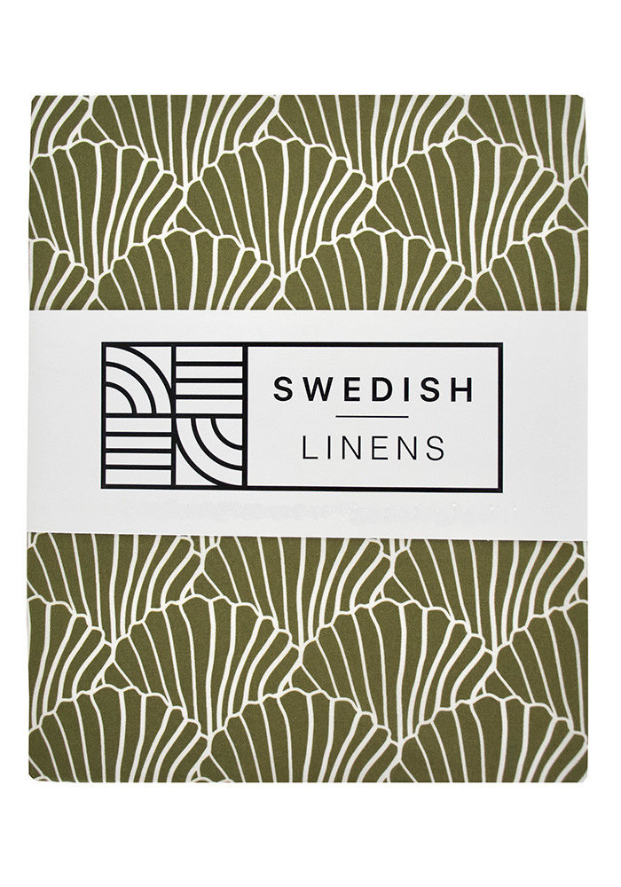 Swedish Linens SEASHELLS Olive Green Fitted Double Bed Sheet 140x200cm