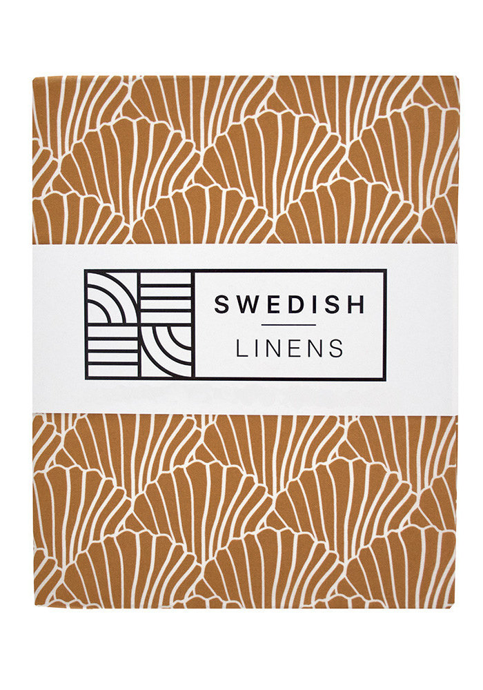 Swedish Linens SEASHELLS Cinnamon Brown Fitted Toddler Bed Sheet 70x160cm
