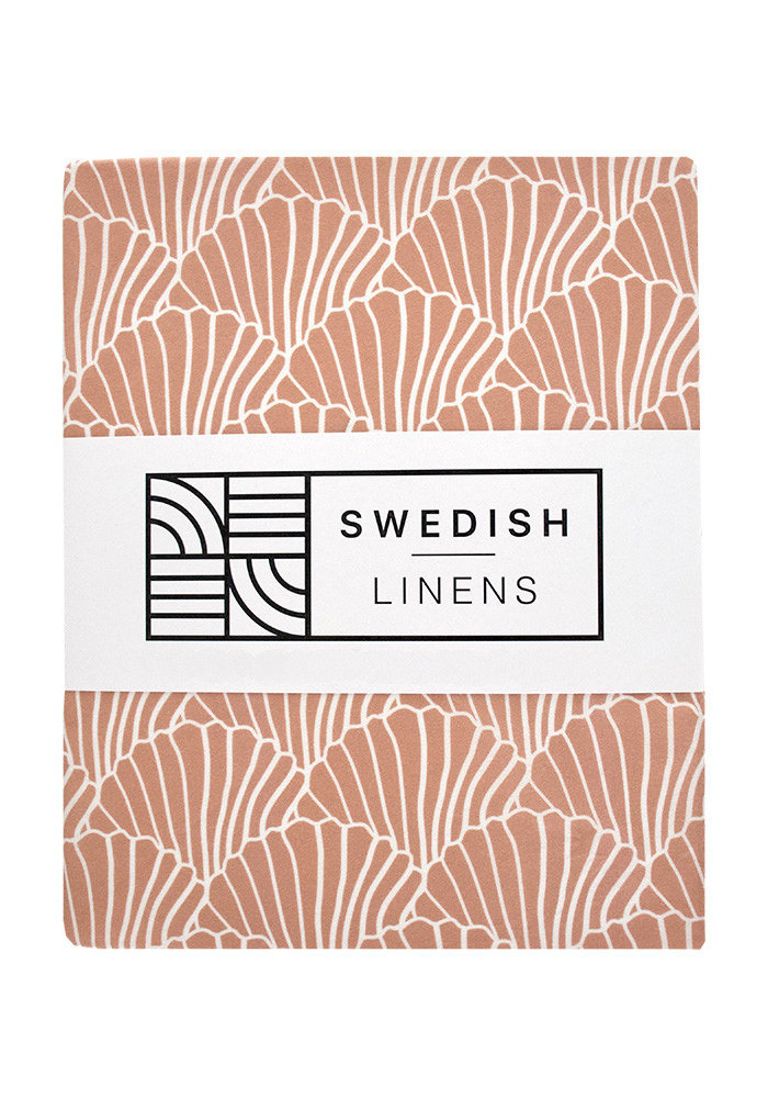 Swedish Linens SEASHELLS Terracotta Fitted Toddler Bed Sheet 70x160cm