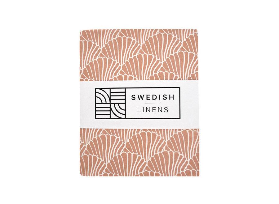 Swedish Linens SEASHELLS Terracotta Fitted Toddler Bed Sheet 70x160cm