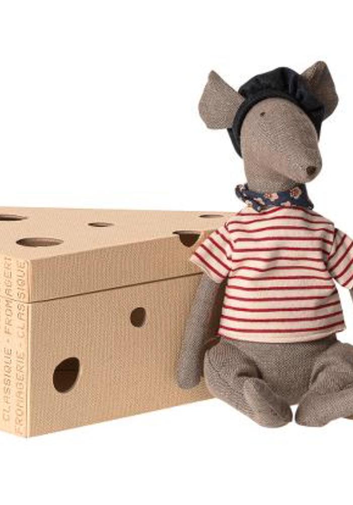 Maileg Rat in Cheese Box Grey