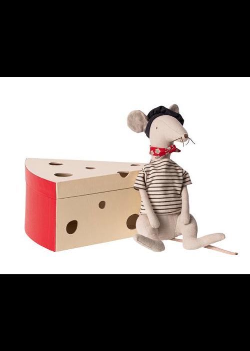 Maileg Maileg Rat in Cheese Box Light Grey