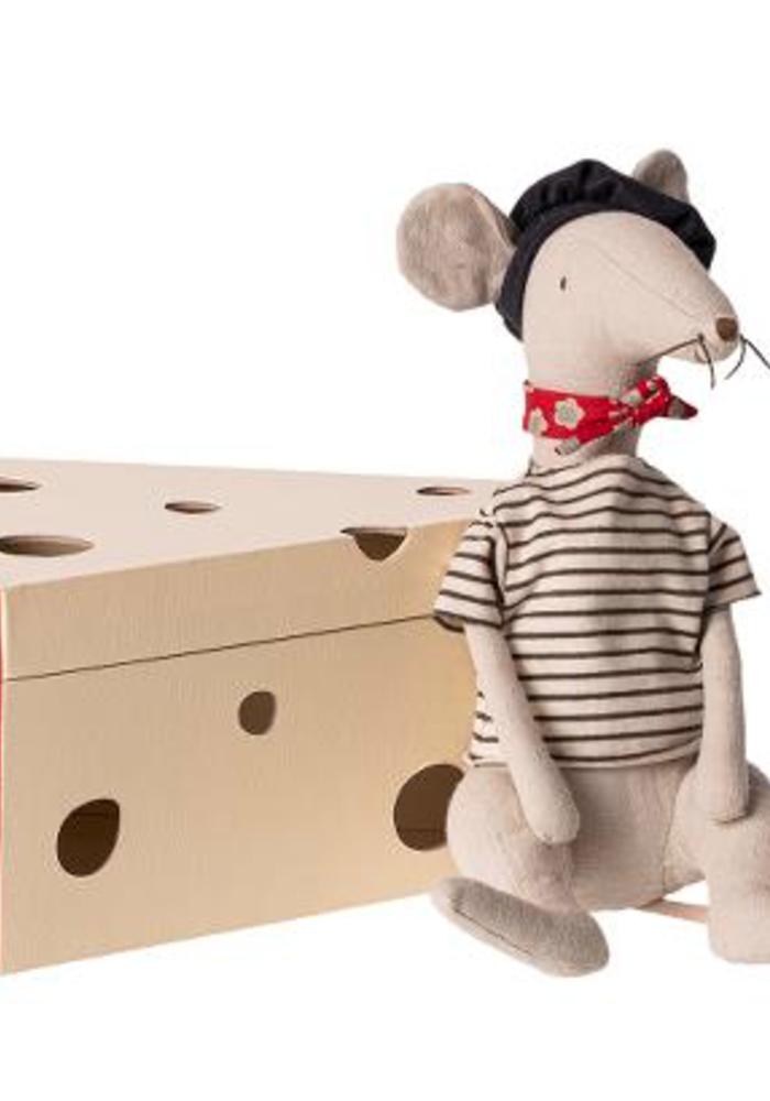 Maileg Rat in Cheese Box Light Grey