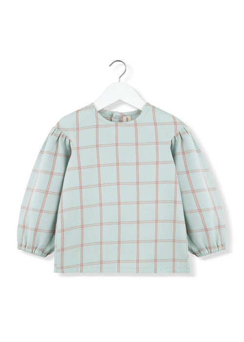 Kids on the Moon Kids on the Moon Mint Plaid Puff Blouse