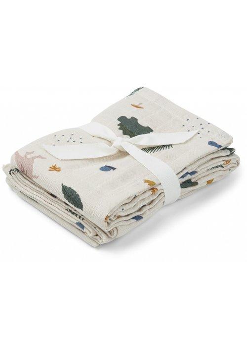 Liewood Liewood Hannah Muslin Cloth Dino 2- pack