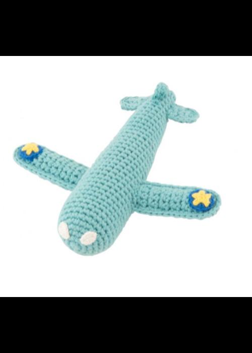Global Affairs Global affairs Crochet rattle Airplane Aqua