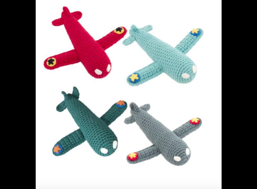 Global affairs Crochet rattle Airplane Aqua