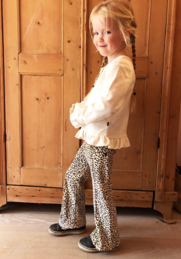 House of Jamie Flared Pants Snow White Leopard