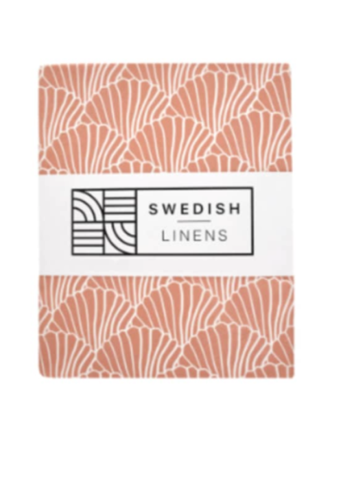 Swedish Linens Swedish Linens Seashells Terracotta 180x200 cm Double Fitted Sheet