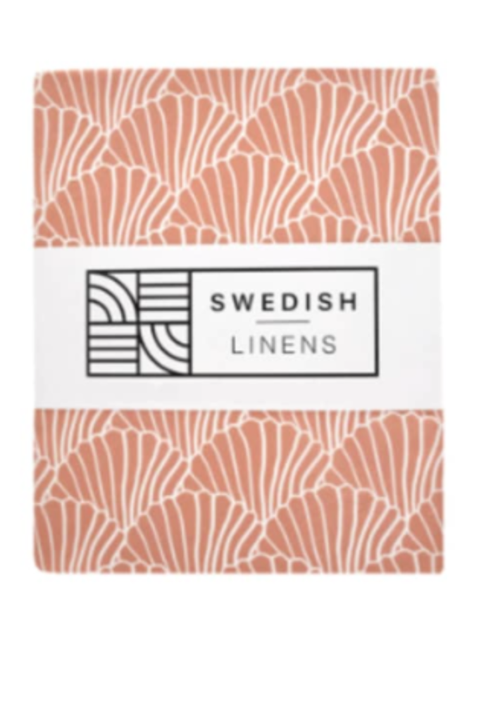 Swedish Linens Seashells Terracotta 180x200 cm Double Fitted Sheet