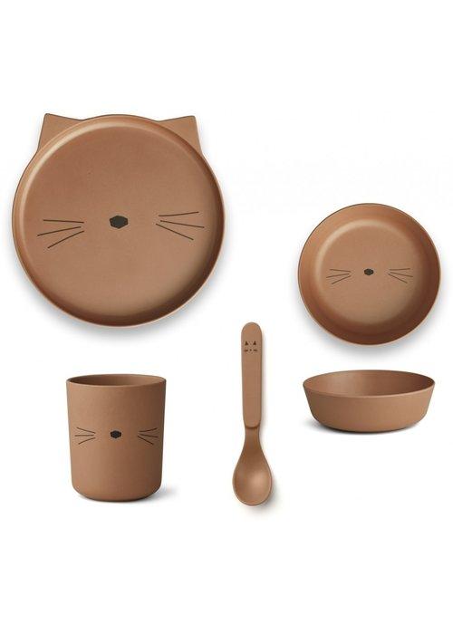 Liewood Liewood Bamboo Box Set - Cat Terracotta