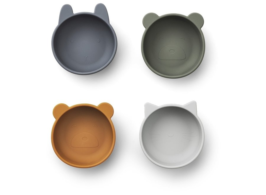 Liewood Iggy Silicone Bowls 4 pack Blue Mix