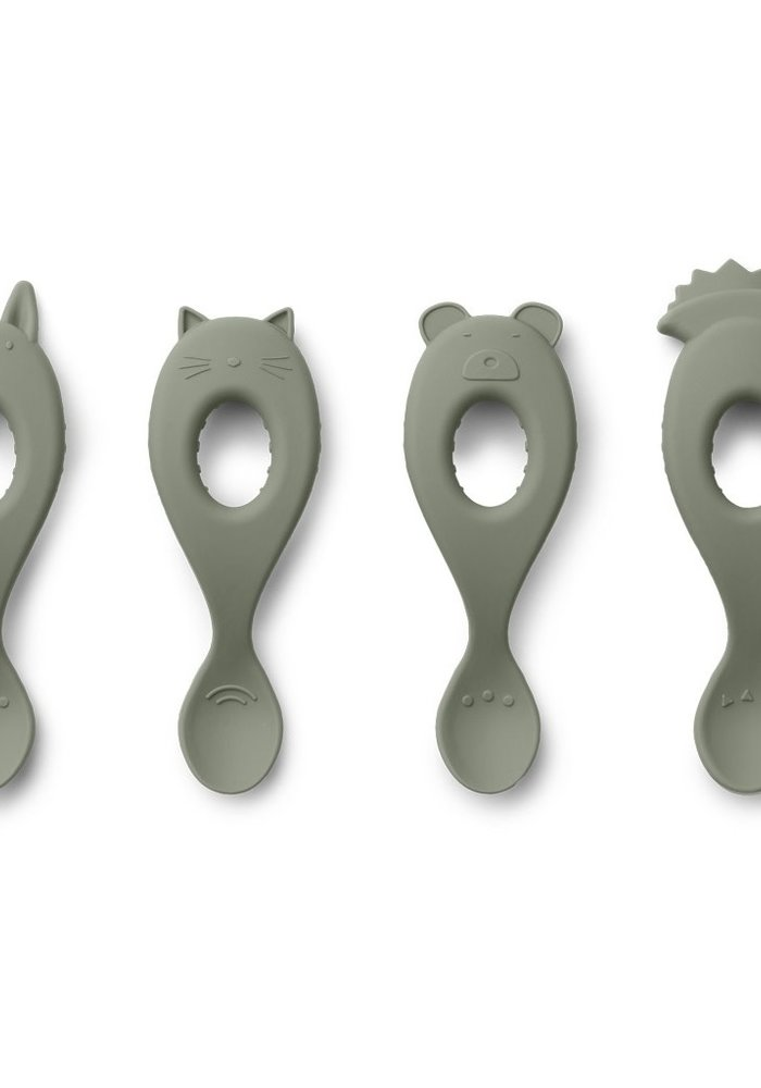 Liewood Liva Silicone Spoon 4-pack Faune Green