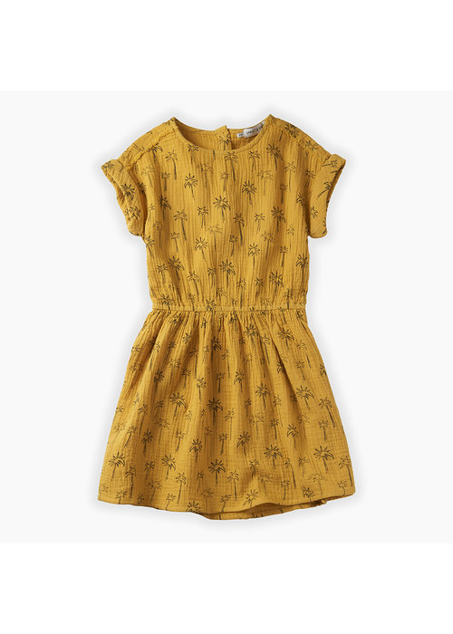 Sproet & Sprout Sproet & Sprout Dress Print Palm Tree Curcuma