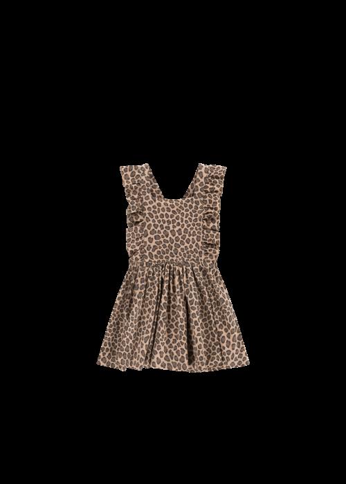 House of Jamie House of Jamie Ruffled Salopette Dress Caramel Leopard