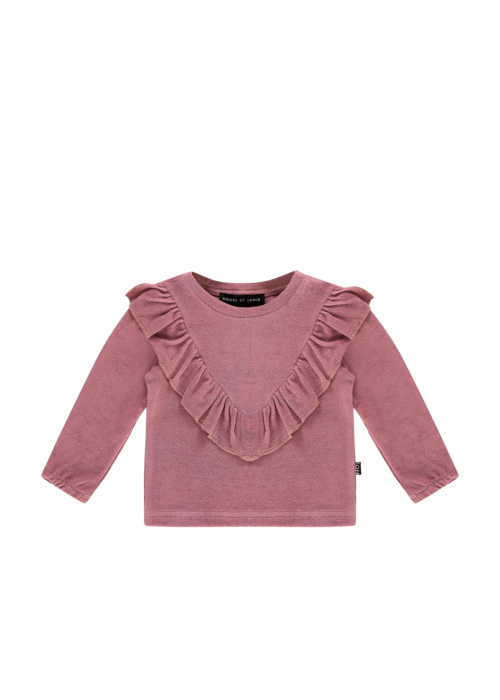 House of Jamie House of Jamie Front Ruffled Sweater Orchid Terry