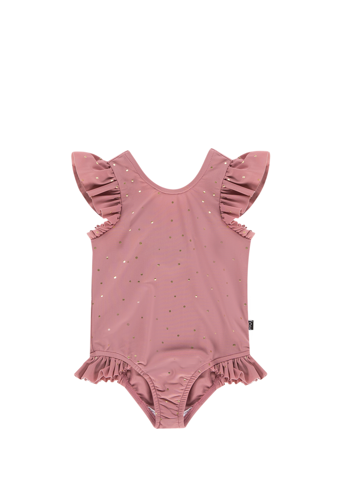 House of Jamie Ruffled Swimsuit Orchid Golden dots