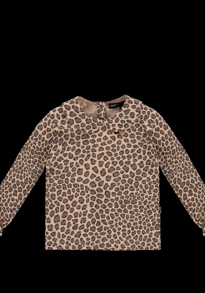 House of Jamie Collar Tee Caramel Leopard