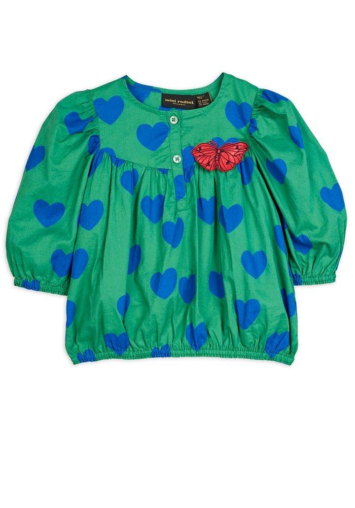Mini Rodini Hearts Woven Blouse Green