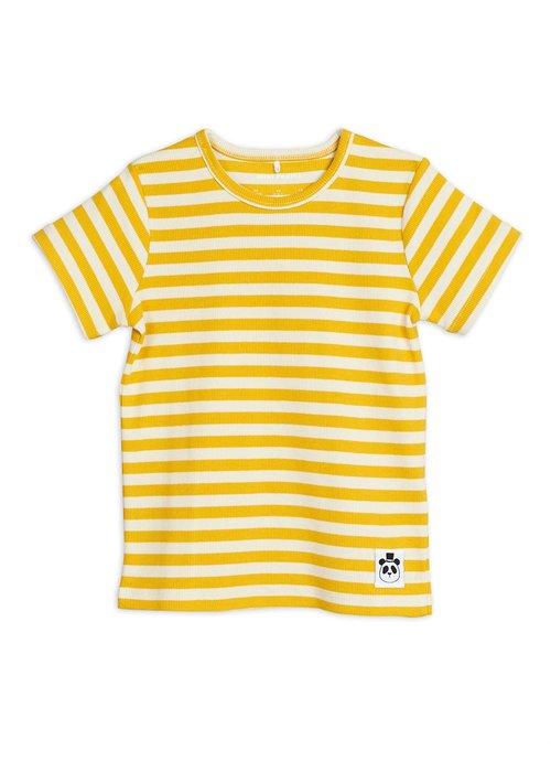 Mini Rodini Mini Rodini Stripe Rib SS Tee Yellow
