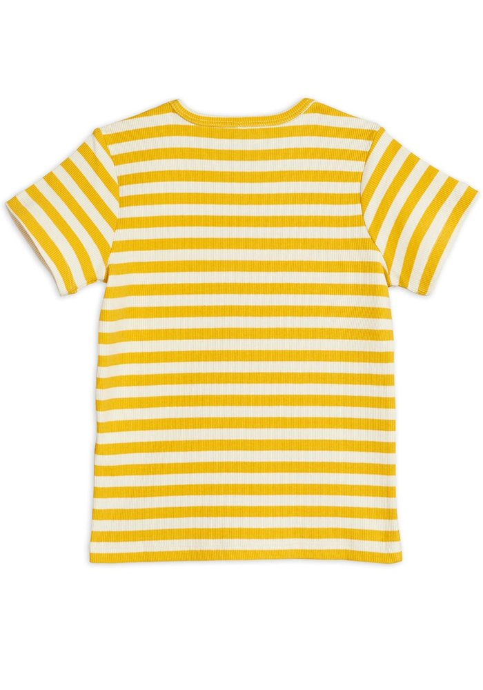 Mini Rodini Stripe Rib SS Tee Yellow
